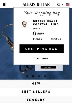 Optimized shopping bag: when you press the icon, a top layer appears showing the shopping bag.