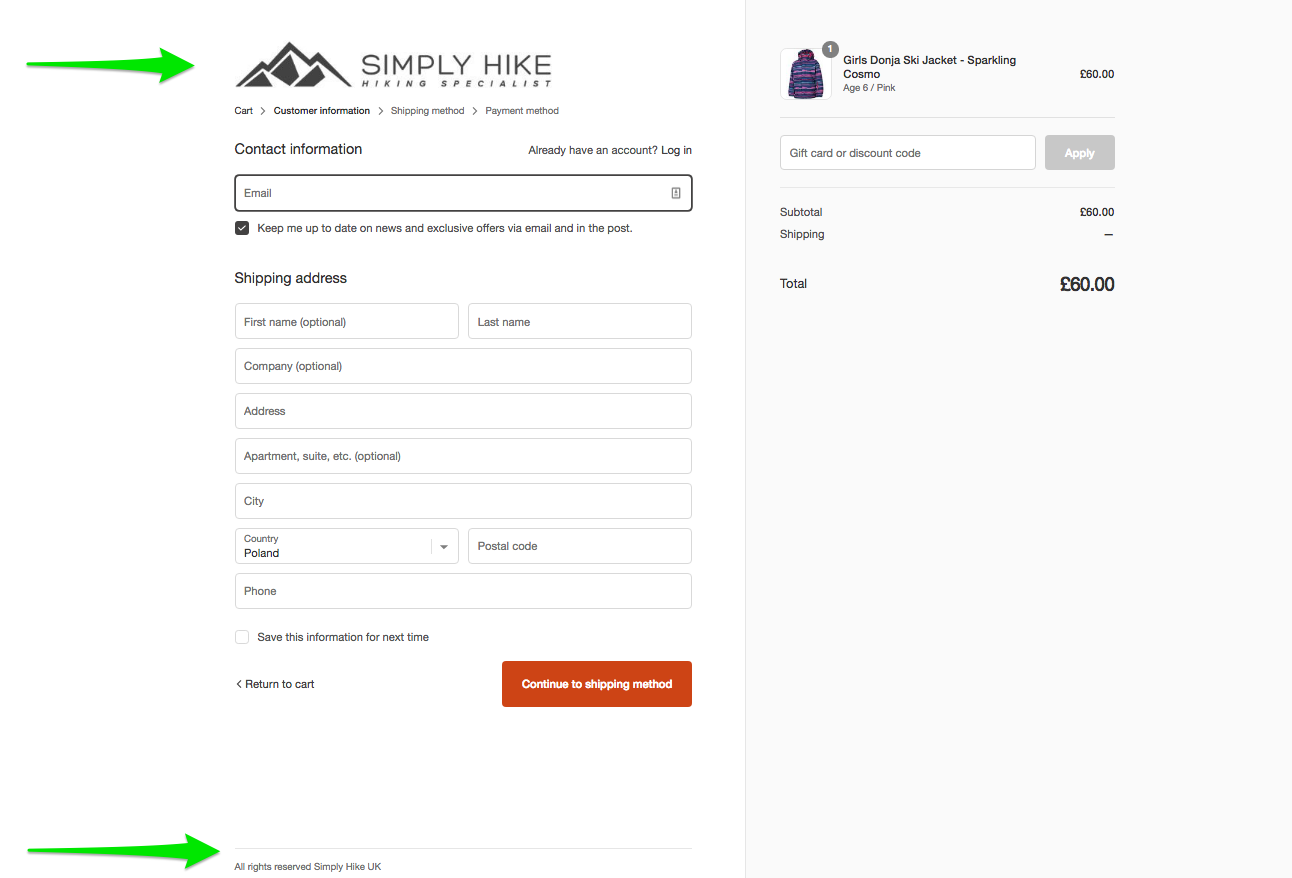 Simplified ecommerce checkout footer