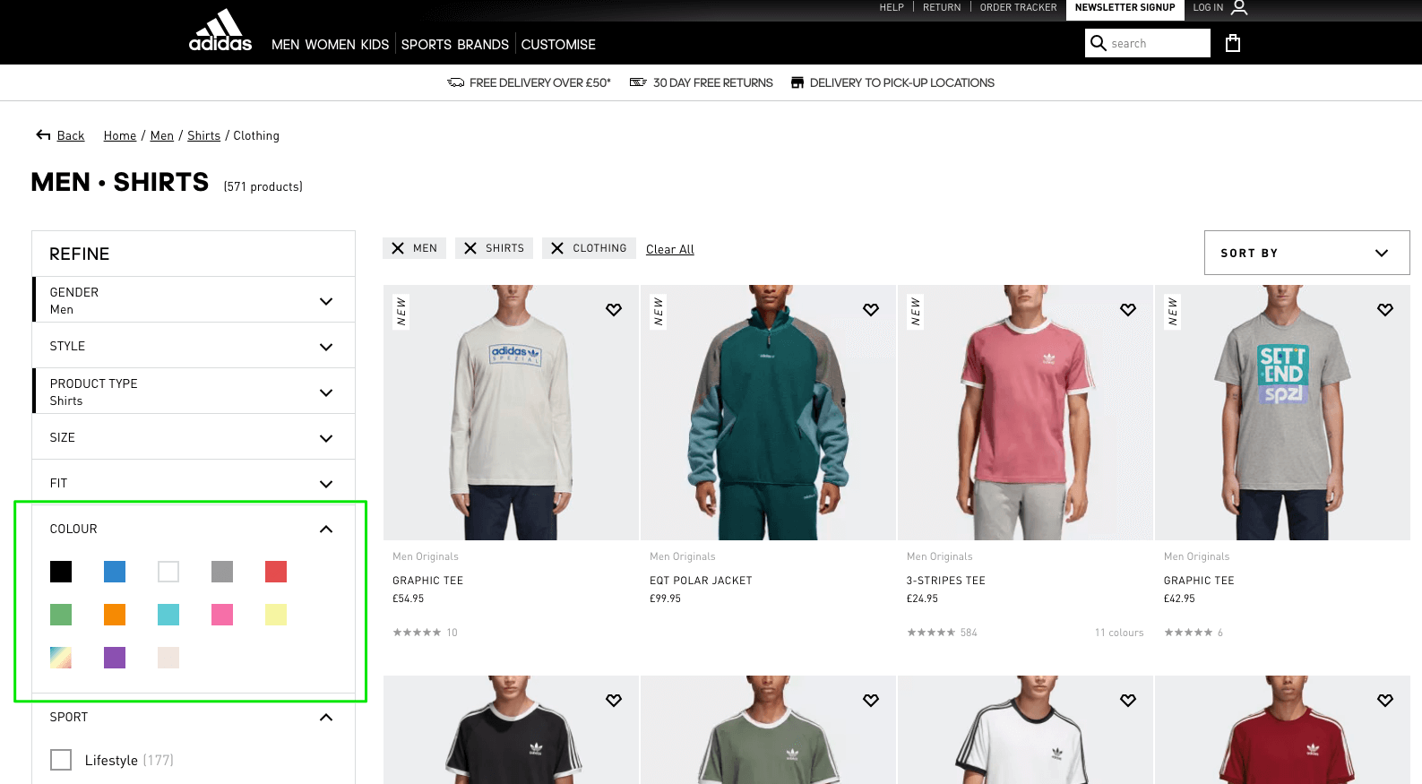 Available colors of clothes shown on Adidas online store product listing