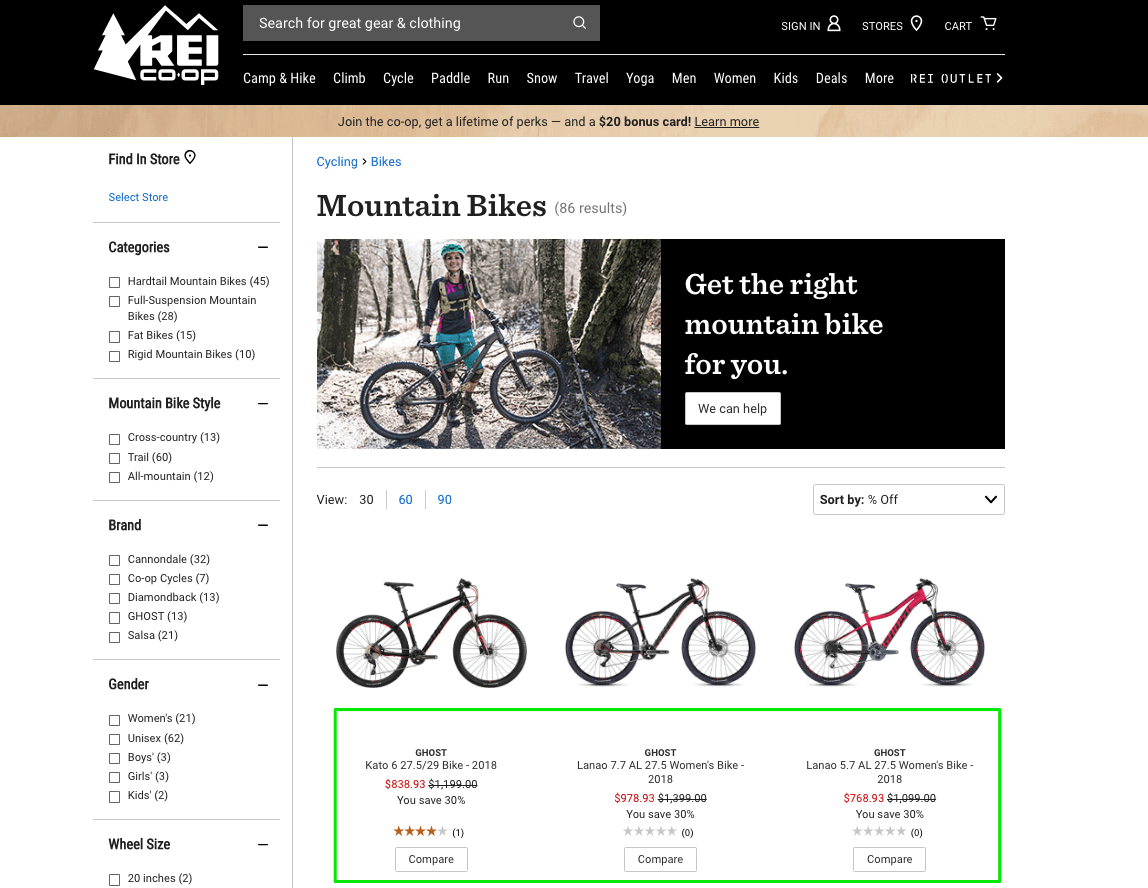 REI includes the difference between the previous price and the discounted one as a percentage, re-emphasizing the offer twice.