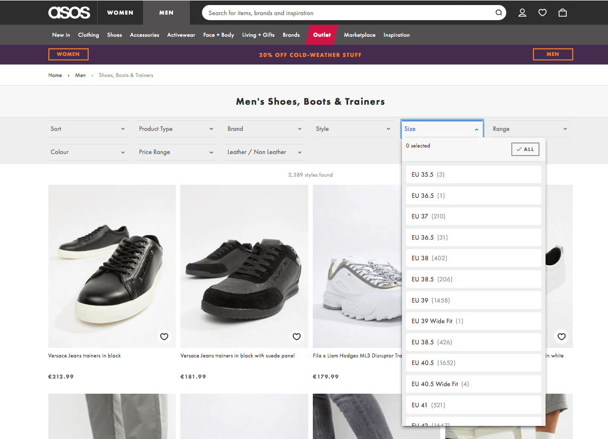 Asos ecommerce category page