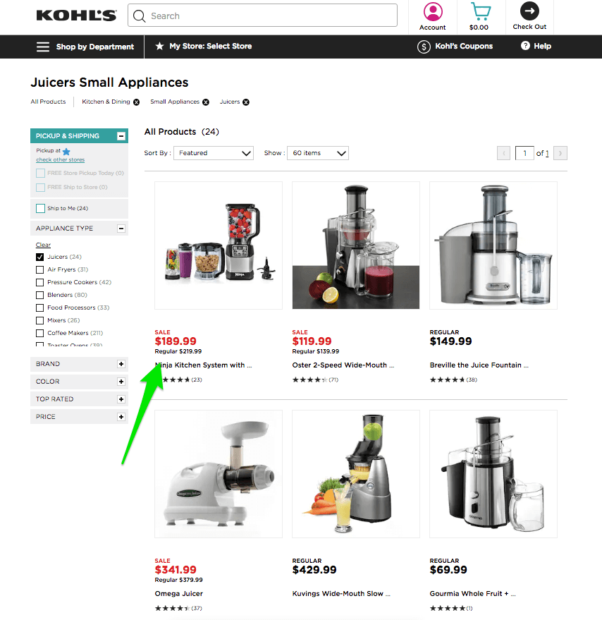 Highlighted sale prices with a red font on a product listing page