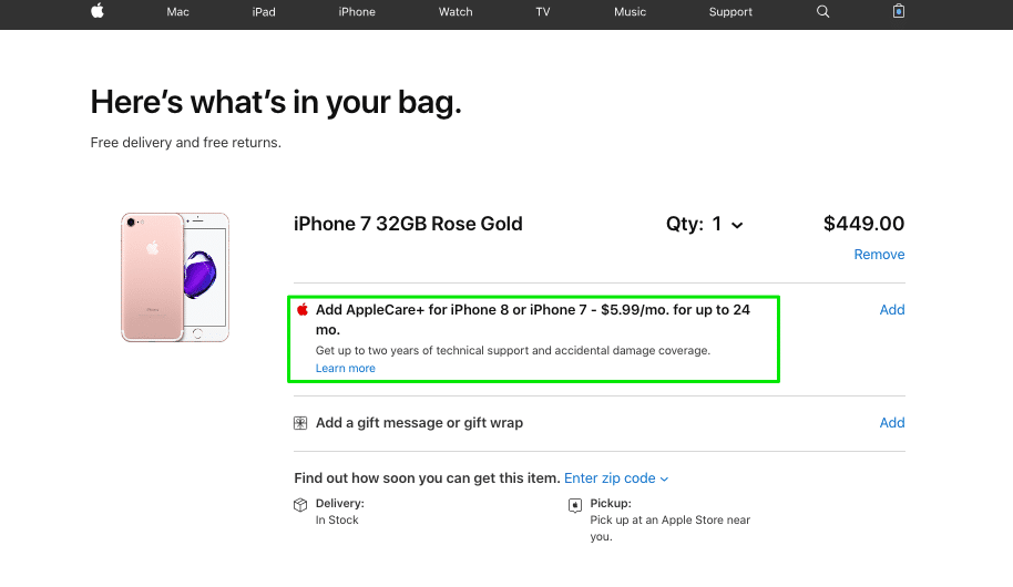 Additional services on Apple's ecommerce cart