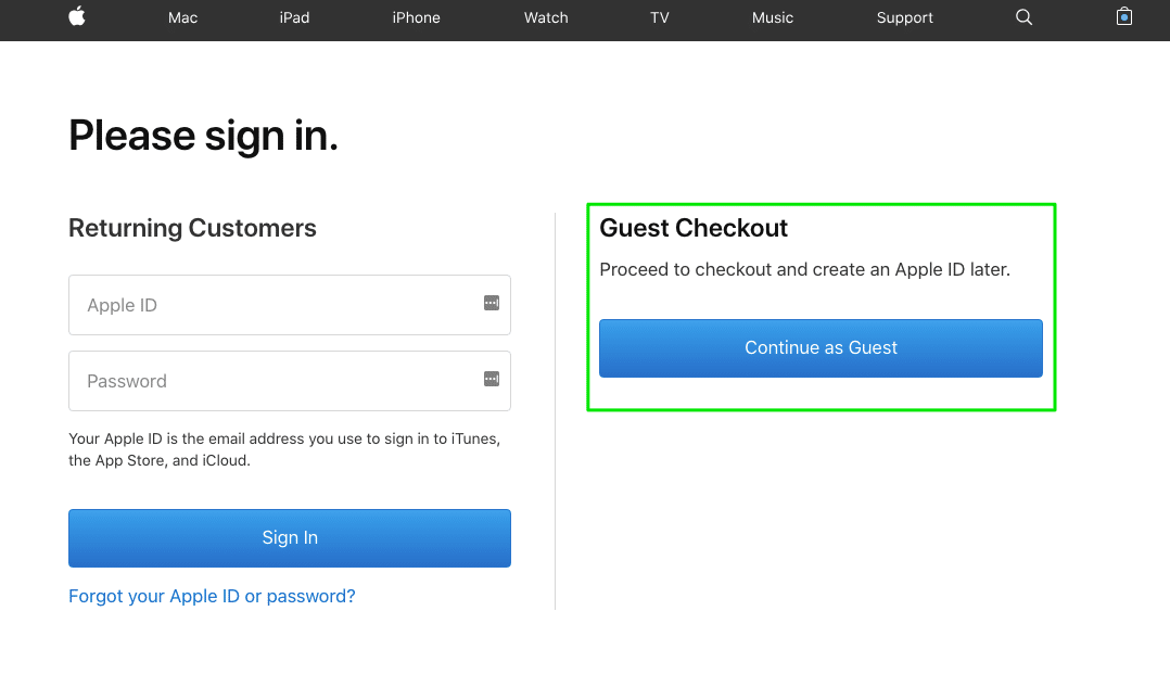Apple allows to checkout as a guest