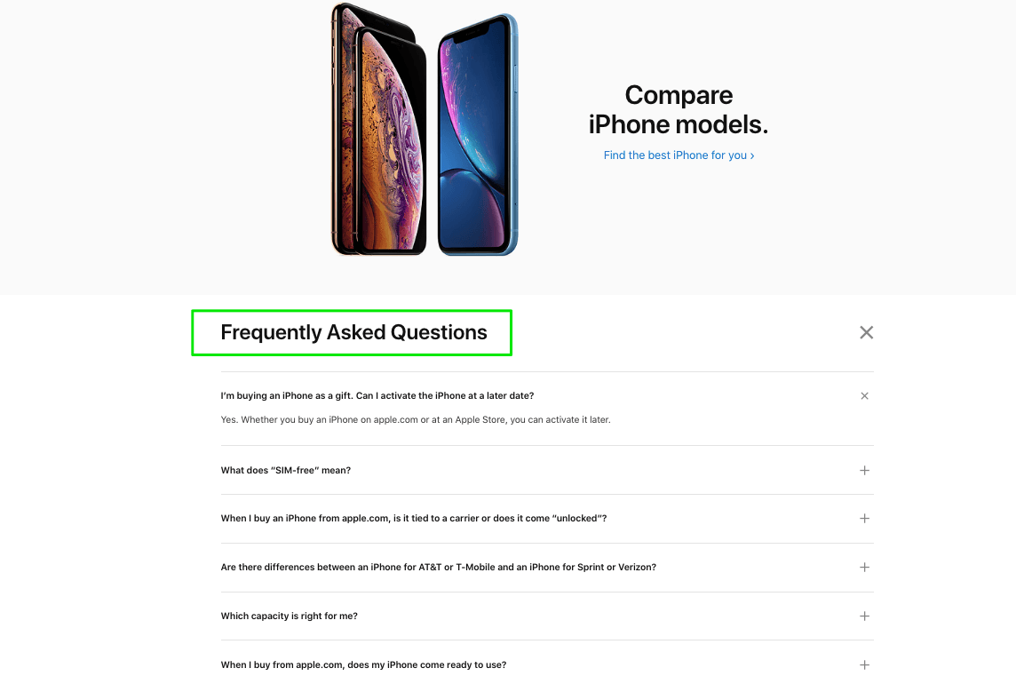 Apple offers simple, clear, and to-the-point FAQs