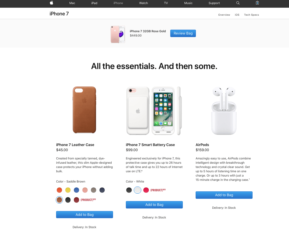 Additional products offered on Apple's cart